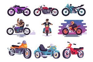 Modern Sport Bikes and Bikers in Leather Jackets
