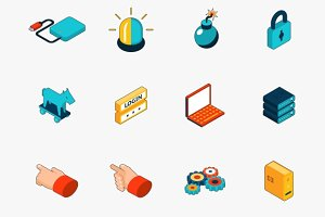 3D internet security icons