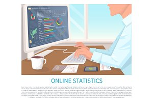 Online Statistics Colorful Vector Illustration