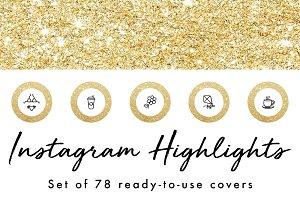 78 Gold Glitter Instagram Highlights