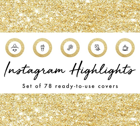 78 Gold Glitter Instagram Highlights