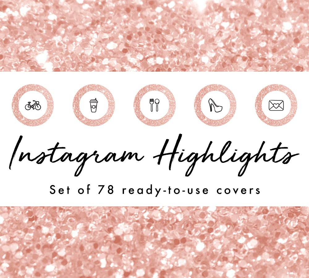 78 Rose Gold Instagram Highlights Creative Photoshop Templates Creative Market