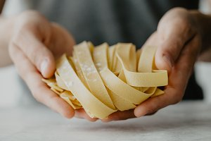 Chef making traditional pasta