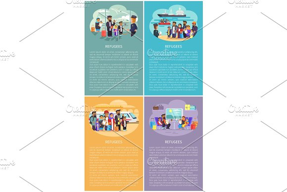 Refugees Posters Collection Vector Illustration