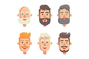 Grandfathers Face Collection Vector Illustration