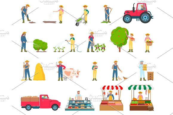 Farmer Activity Collection Vector Illustration
