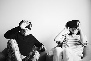 Couple experiencing virtual reality