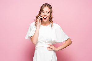 Happy woman phone talking. Face with toothy smile