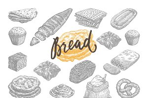 Hand Drawn Bread And Pastries Set