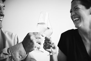A couple making a toast