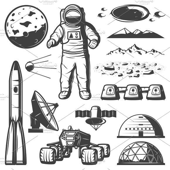 Vintage Mars Space Elements Set