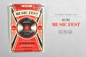Music Fest Retro - Vinyl Flyers
