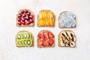 Sandwiches of toast with peanut butte