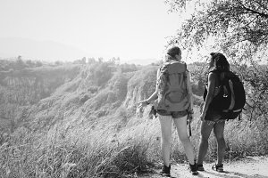 Young backpackers traveling outdoor