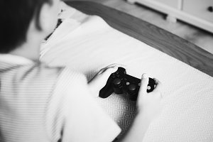 Young boy playing video games