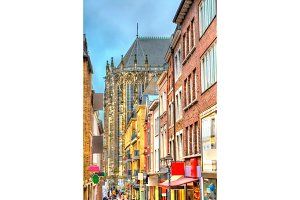Street in the old town of Aachen leading to the Cathedral. Germany