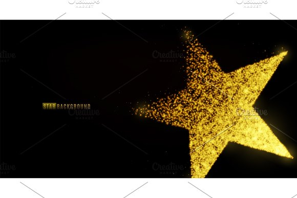Star Banner Background Design With Glowing Particles Isolated On Dark Black Backdrop Copy Space Light Golden Star Shape Consist Of Shine Glitter Glow Spark Effect