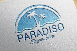 Tropical Beach Logo Design Template