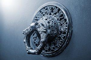 Knocking on blue door