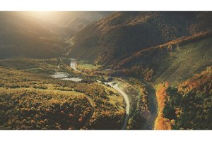 Aerial View of beautiful autumn mountain landscape