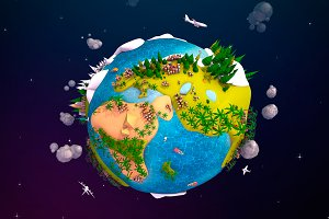 Cartoon Lowpoly Earth Planet 2 UVW