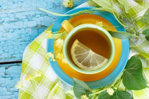 Herbal tea with linden blossoms