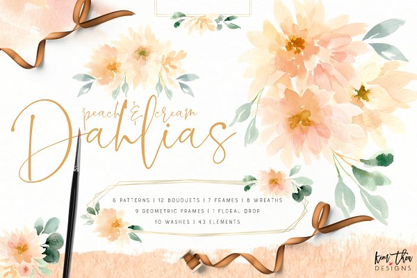 Illustrations and Illustration Products: Kim Thoa Designs - Peach and Cream Dahlias