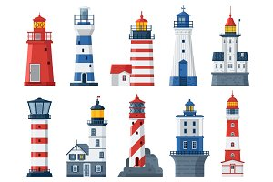 Flat Lighthouses and Sea Guide Light