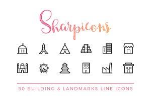 Building & Landmark Line Icons