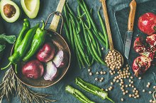 Winter vegetarian or vegan food cooking ingredients, wide composition by Anna Ivanova in Food & Drink