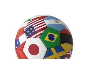 Soccer football with country flags isolated on white background. World championship. 3d illustration.