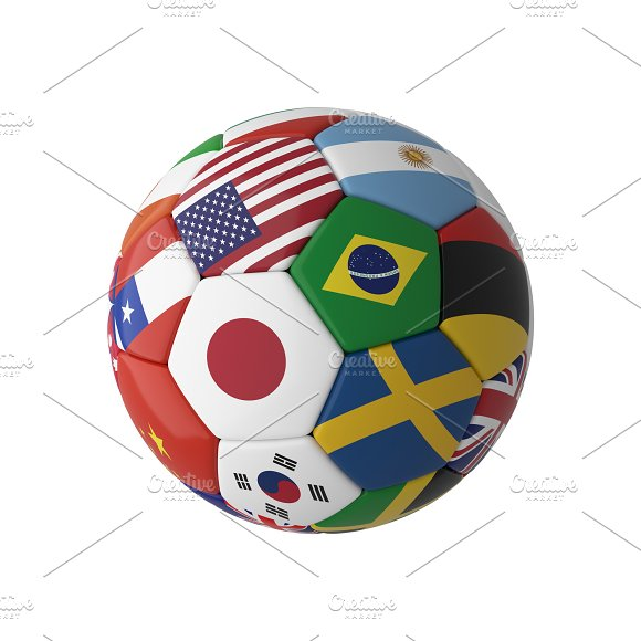 Soccer Football With Country Flags Isolated On White Background World Championship 3D Illustration