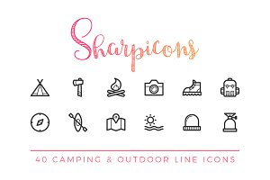 Camping & Outdoor Line Icons