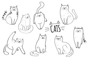 Cats. Vector set