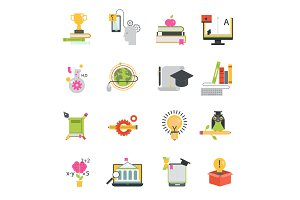 Online education vector icons set distance education school and webinar teamwork symbols. Educational languages school and travel programs online learning illustration