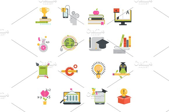 Online Education Vector Icons Set Distance Education School And Webinar Teamwork Symbols Educational Languages School And Travel Programs Online Learning Illustration