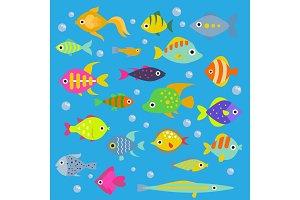 Aquarium flat fish vector ocean breeds underwater bowl tropical aquatic animals water nature pet characters illustration. Beautiful swimfish freshwater nautical seaside decorative icons