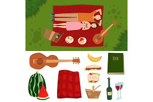 Adult couple man and woman on summer picnic barbecue outdoor romantic summer picnic food vector illustration