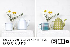 Enamel teapot and mug mockup