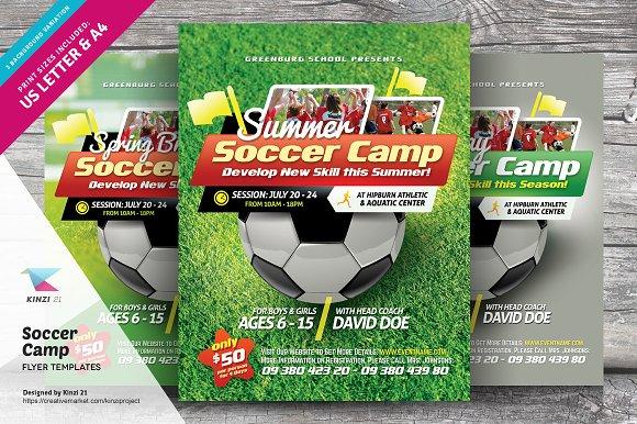 Soccer Camp Flyer Templates Flyer Templates Creative Market