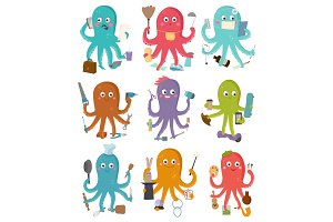 Octopus occupation vector illustration cartoon octopi character of businessman constructor or housewife doing multiple tasks set of doctor artist or chief-cooker octopuses isolated on white background
