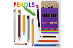 Pencil vector pen for pencilled drawing and schooling pencraft stationery illustration set of school supplies isolated on white background