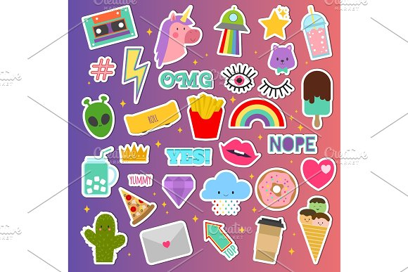 Patch Stickers Vector Sticky Patching Badge Or Embroidery For Patchwork Illustration Set Of Patchy Cartoon Heart Rainbow Or Unicorn Isolated On Background
