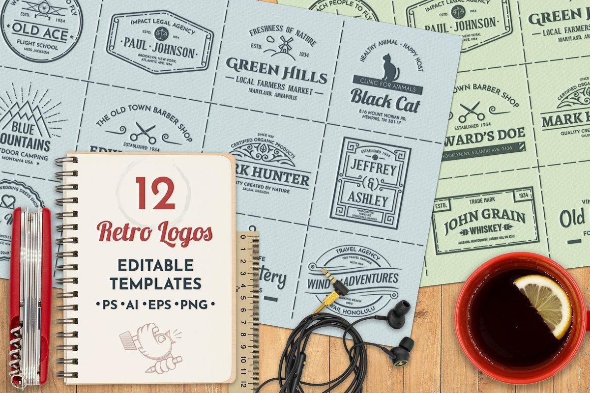 12 vintage template logos set