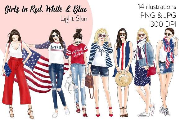 Girls In Red White Blue Light S