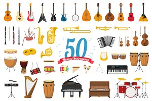 50x Musical Instruments cartoon