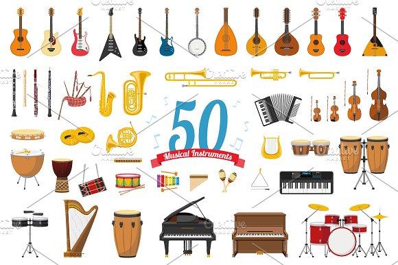 50x Musical Instruments Cartoon