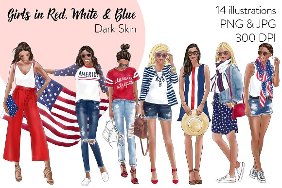 Girls In Red White Blue Dark