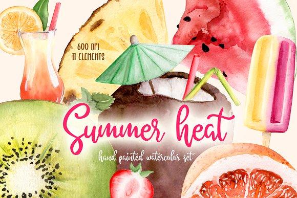 Summer Heat Watercolor Set Clipart