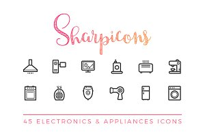 Electronics & Appliances Line Icons